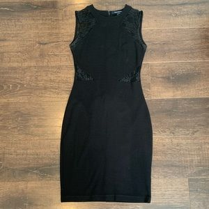French Connection Black Lace Cut Out Dress